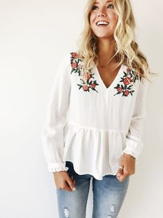 Embroidered Floral Blouse | ROOLEE women's fashion
