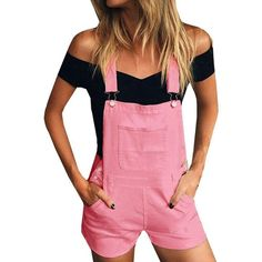 6a395f61abe Women Loose Denim Bib Hole Pants Overalls Jeans Demin Shorts Jumpsuit