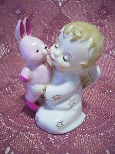 VTG Japan Boy Girl Angel Holds Pink Bunny Rabbit w/ Orig Tag Figurine