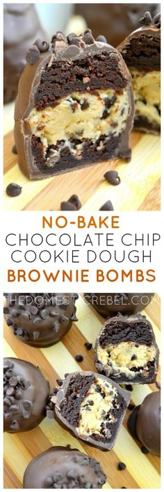 These No-Bake Chocolate Chip Cookie Dough Brownie Bombs are the ultimate treat! Egg-free cookie dough is wrapped with fudgy brownies and coated in rich milk chocolate. A chocolate lover's dream! (Fudge No Baking Cookies) Mini Desserts, No Bake Desserts, Just Desserts, Delicious Desserts, Dessert Recipes, Yummy Food, Oreo Desserts, Healthy Desserts, Plated Desserts