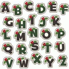 Silhouette Design Store - View Design #50701: holly berry christmas monogram alphabet