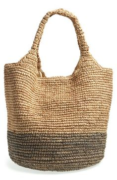 Straw Studios Colorblock Straw Shoulder Bag | Nordstrom