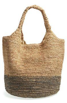 Straw Studios Colorblock Straw Shoulder Bag | Nordstrom
