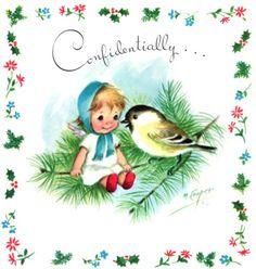 # Vintage Marjorie M. Cooper Xmas Greeting Card Angel Sitting with Bird Xmas Greeting Cards, Vintage Greeting Cards, Vintage Christmas Cards, Vintage Holiday, Xmas Cards, Holiday Images, Christmas Images, Christmas Mood, Christmas Ornaments