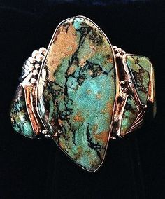 MASTERPIECE-HUGE-HEAVY-SOLID-STERLING-BRACELET-w-6-Stunning-Royston-Turquoise - Navajo
