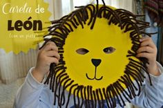 Sometimes we don't think that we can make something original with usual things. Look at this DIY if you wanna make a party-carnival for your kids. Vbs Crafts, Preschool Crafts, Diy For Kids, Crafts For Kids, Funny Lion, Lion Mask, Animal Masks, Diy Funny, Mask Design