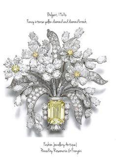 RosamariaGFrangini   HighJewellery Modern   MyYellowJewellery   Fancy intense yellow diamond and diamond brooch, Bulgari, 1960s  