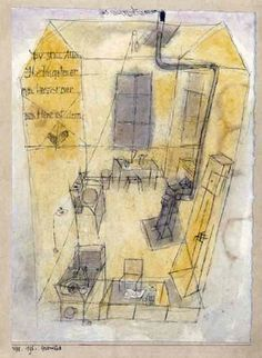 Paul Klee 'Commemorative Sheet Gersthofen' 1918 Watercolor,pencil and ink 21 x 28.5 cm
