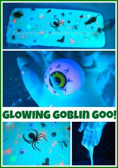 Glowing Goblin Goo Halloween activity.  How fun! Quite clever to contain it in the bath tub too. Be sure to click on their other links for glow play ideas...