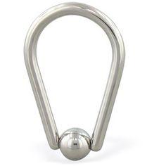 Teardrop captive bead ring, 16 ga