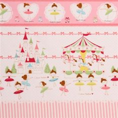 pink cute ballerina castle merry go round fabric by Kokka