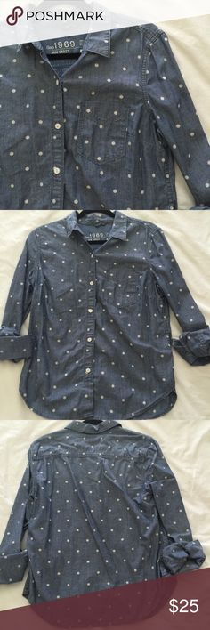 "gap polka dot chambray button down great condition. 100% cotton. bust: 20"" length: 28"" GAP Tops Button Down Shirts"