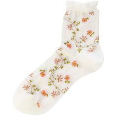 Falke Fine flower socks ($11) found on Polyvore featuring intimates, hosiery, socks, accessories, socks and tights, white, white hosiery, falke hosiery, tennis socks and ankle socks