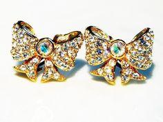 Antique Clip Earrings SWAN SWAROVSKI Crystal by KMalinkaVintage