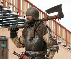 Landsknecht / Arizona Renaissance Festival 2016 / Medieval / Medieval soldier / Medieval Weapon / Goosewing  axe / Bearded axe / Armor / medieval costuming / plate armor / Chainmail Bishop's mantel / Chainmail Gauntlets / German Mercenarie , Medieval Thug  Jason Russell