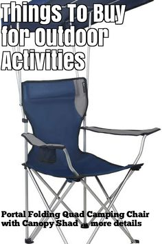 (This is an affiliate pin) Portal Folding Quad Camping Chair with Canopy Shade Camping Furniture, Camping Chair, Butterfly Chair, Folding Chair, Outdoor Activities, Things To Buy, Quad, Canopy, Portal