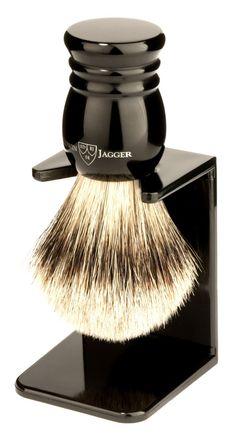 Edwin Jagger Traditional English Super Badger Hair Shaving Brush Faux Ebony Medium With Drip Stand, Black, Medium Beard Grooming Kits, Shaving & Grooming, Men's Grooming, Straight Razor Shaving, Shaving Razor, Wet Shaving, Hair Salon Names, Edwin Jagger, Badger Shaving Brush