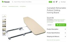 Countertop Pull-out Swivel Ironing Board Pull Out Ironing Board, Ironing Boards, Backyard Kitchen, Iron Board, Smart Furniture, Under Cabinet, Mudroom, Housekeeping, Laundry Room