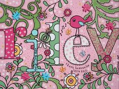 Beautiful name art for a little girl (love the pink and green and polka dots of course!)
