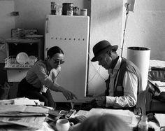 Zofia Kulik and Joseph Beuys, Beuys' flat at Drakeplatz, Düsseldorf, 1981. Photo: Przemysław Kwiek, courtesy KwieKulik Archive.