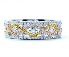 Blount Jewels 1.05 cttw Canary and White Diamond Ring In 18k Tri-color Gold
