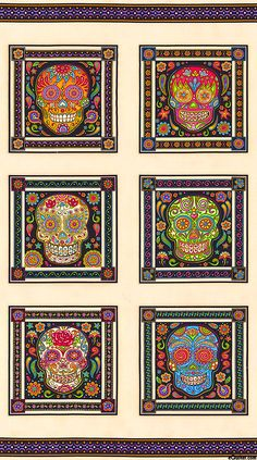 "Fabric Fiesta - Day of the Dead Skull - Ivory - 24"" x 44"" PANEL"