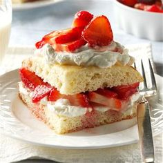 Strawberry Shortcake Recipe -I grew up helping my mom make soup and pies in our farmhouse kitchen. This sunny shortcake brings back memories of family summers on the farm. —Janet Becker, Anacortes, Washington