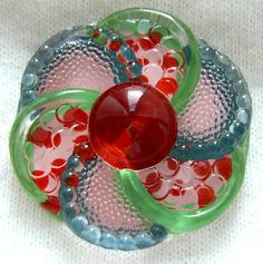 "Czech Glass Button - Multi Color Reverse Painted Polka Dot ""Confetti Flower"" Button"