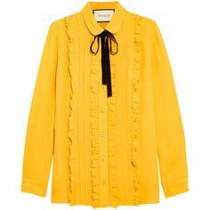 Gucci Ruffled silk shirt ($960) ❤ liked on Polyvore featuring tops, blouses, shirts, gucci, mustard shirt, pintuck blouse, shirt blouse, silk blouse and silk ruffle blouse
