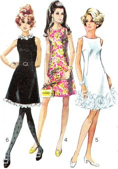 1960s Dress Pattern Simplicity 7976 Mod Womens Day by paneenjerez