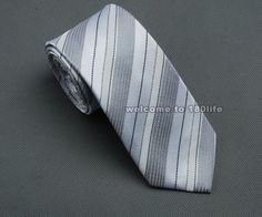 #63L White Gray Stripes Skinny Slim Narrow Woven Silk 2.5  Necktie Wedding Tie
