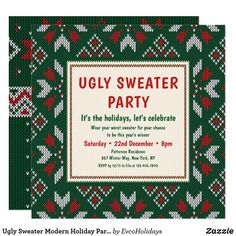 Ugly Sweater Modern Holiday Party Invitation Holiday Parties, Holiday Fun, Christmas Holidays, Festive, Holiday Party Invitations, Ugly Sweater Party, Zazzle Invitations, Paper Design, Being Ugly