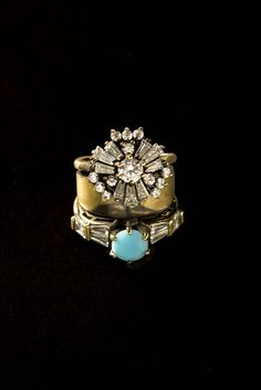 Brass thin ring with zircons and torquoise paste stone Gypset Collection #IOSSELLIANI