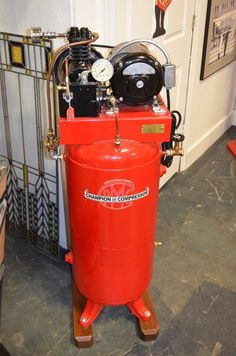 Vintage 1939 Champion Spark Plug Air Compressor Professionally Restored W/ Sign from $1995.0
