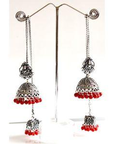 Kashmiri style Jhumka Earrings oxidisedsilverredMAE171e