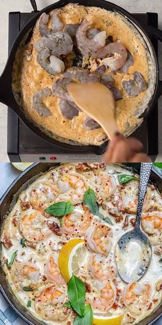 This Tuscan Shrimp Skillet recipe is spicy and made with a light creamy sauce garlic and sun-dried tomatoes. A restaurant-quality recipe thats easy to make keto-friendly and the whole family will enjoy. Shrimp Recipes For Dinner, Cooked Shrimp Recipes, Meals With Shrimp, Shrimp And Scallop Recipes, Birthday Dinner Recipes, Salmon Pasta Recipes, Frozen Shrimp Recipes, Red Snapper Recipes, Tuna Steak Recipes