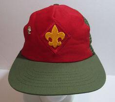 b964e7d6b48 Vintage BOY SCOUTS BSA HAT Mesh Trucker Snapback Youth S M + 3 Finger  Salute PIN  BoyScoutsofAmerica  Hat