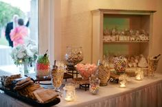 Candy Bar Set-Up, Elevations, variety of Glass Vases and Serving Scoops — $50   Vintage Villas Hotel & Events