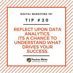 Digital Marketing 101 - Tip #20  Always reflect upon your data. Analytics are a key reflection as to what is working for you and what isn't.  If you're not a data-centric person start small by reading articles or taking a micro-class to start your comprehension. Your future self will thank you.  #data #dataanalysis #analytics #digitalmarketing #digitalbranding #marketingstrategy #digitalagency #marketingagency #branddevelopment #smallbusiness #startup #entrepreneur #goals #inspiration… Startup Entrepreneur, What Is Work, Competitor Analysis, Data Analytics, Comprehension, Digital Marketing, Reflection, Self, Branding