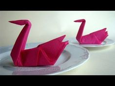 Napkin folding swan. - YouTube