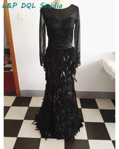 Aliexpress.com : Buy Sexy Mermaid Feathers Evening Dresses Top Quality Long Prom Dresses Scoop Illusion Full Sleeve V Back Side Split Applique Beads from Reliable dresses prom dress suppliers on Life&Peace Dress Store