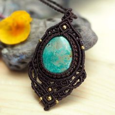 Macrame Choker Necklace Pendant Jewelry  Tibetan Turquoise Handmade Bohemian #Handmade #Pendant