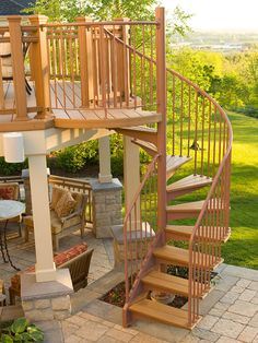Absolutely love this winding staircase for an outside patio