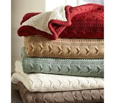 Cozy Cable Knit Throw   Pottery Barn Love the Cardinal color. I wore out my grey one I love these SO much! Highly recommend!