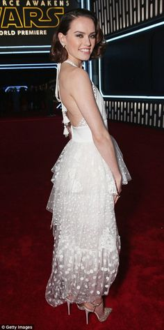 Stunning: The 23-year-old put on an elegant display in her diaphanous gown...