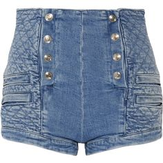 Pierre Balmain Button-detailed quilted stretch-denim shorts ($650) ❤ liked on Polyvore featuring shorts, blue, bottoms, blue shorts, button shorts, pierre balmain, high waisted button shorts and highwaist shorts