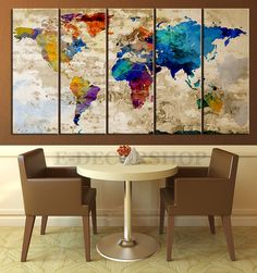 Retro WORLD MAP Canvas Print Art Drawing on Old Wall - Watercolor World Map 5 Piece Canvas Art Print - Ready to Hang - Colorful World Map by EDecorShop on Etsy