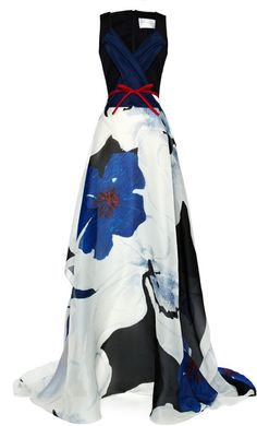 Beautiful Carolina Herrera Blue Floral Printed Organza Dress