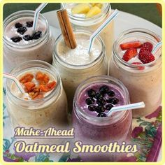It's great to have a healthy breakfast that you can make ahead of time to be able to grab on the go! Then you don't have to stop and pick up some greasy fast food when you are hungry. The site The Yummy Life has 6 different recipes for Make Ahead Oatmeal smoothies plus a …
