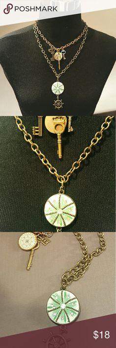 "AQUATIC STEAMPUNK MULTI STRAND NECKLACE Bronze key strand 8"" L  Shell/Ship Wheel strand 10"". Extension 3"". Jewelry Necklaces"